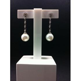 Pendientes Oro blanco Perlas y Diamantes