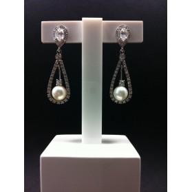 Pendientes Oro blanco Perlas y Circonitas