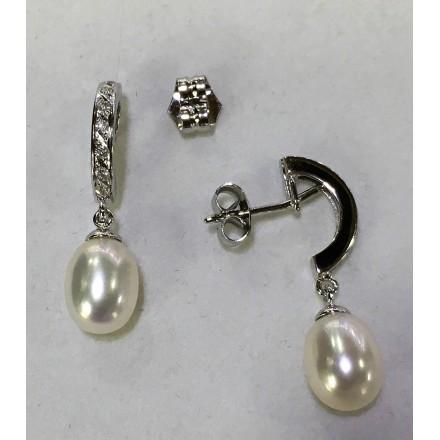 Pendientes Oro blanco, Perlas y Diamantes